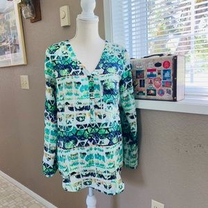 Mossimo high low long sleeve abstract blouse Sz SP